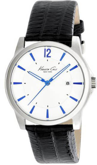 Kenneth Cole Stainless Steel White Dial Leather Strap Blue Accents KC1719