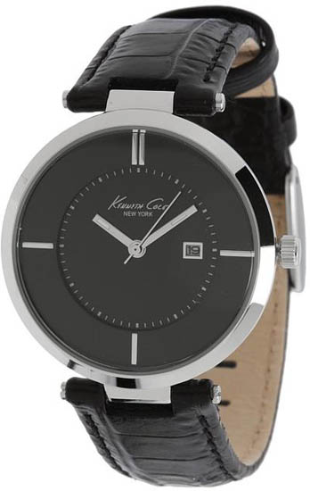 Kenneth Cole Stainless Steel Dress Date Black Dial Leather Strap KC2593