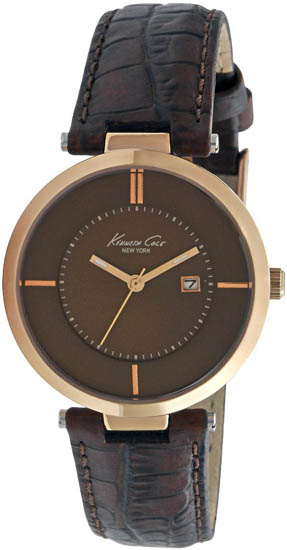 Kenneth Cole Gold Tone Stainless Steel Brown Dial Strap Midsize KC2597
