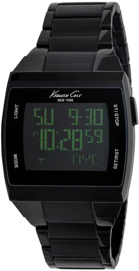 Kenneth Cole Black Stainless Steel Green Touch Digital KC3927