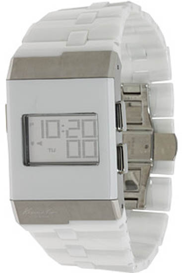 Kenneth Cole White Ceramic Link Bracelet Quartz Digital Dial KC3999
