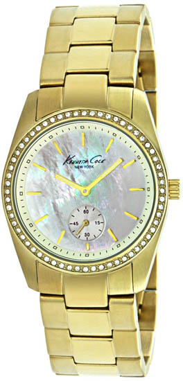 Kenneth Cole Gold Tone Stainless Steel Quartz Mother Of Pearl Dial KC4732