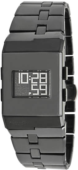 Kenneth Cole Black Ceramic Link Bracelet Quartz Digital Dial KC4737