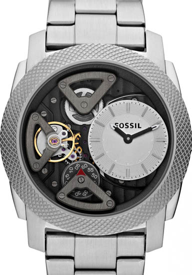 Machine Stainless Steel Case and Bracelet Silver Skeleton Dial