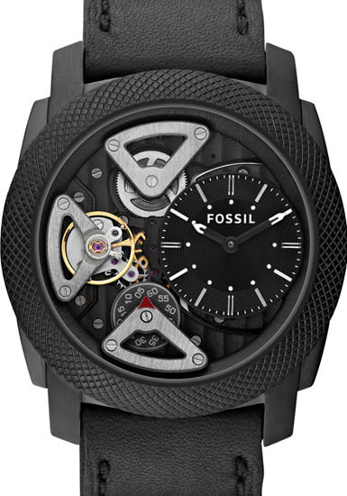 Machine Stainless Steel Case Leather Bracelet Black Skeleton Dial