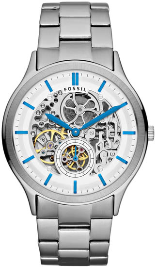 Ansel Automatic Stainless Steel Case and Bracelet Silver Skeleton Dial