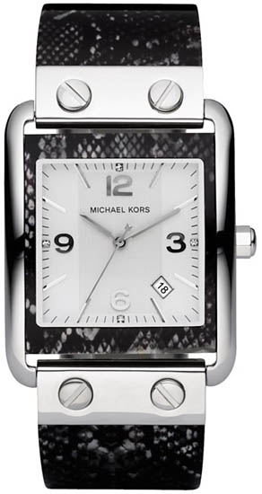 Michael Kors Striped Plastic Bangle Style Fashion Quartz Silver Tone MK4238