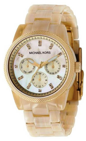 Michael Kors MK5039 Ivory Patterned Plastic Link Bracelet Gold Tone Quartz Day Date Crystal at Sears.com