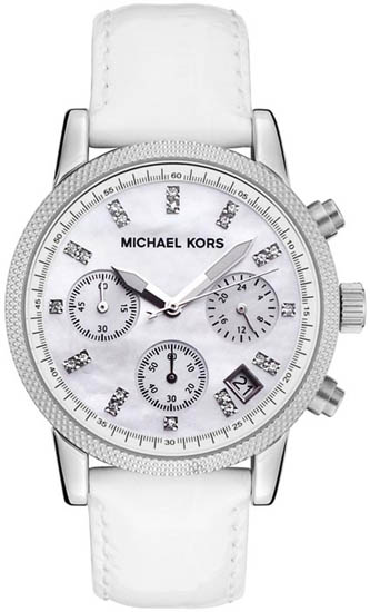 Michael Kors Stainless Steel Quartz Chronograph Mother of Pearl Dial White Leather Strap at Sears.com
