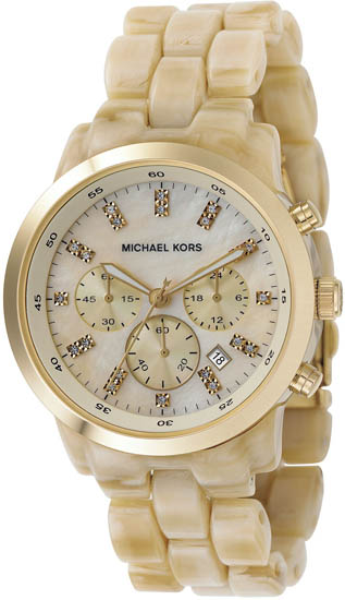 Michael Kors Ivory Tone Plastic Link Quartz Chronograph Gold Tone Mother Of Pearl MK5217
