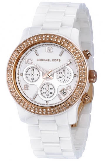 Michael Kors White Ceramic Link Bracelet Quartz Chronograph Two Tone Crystal MK5269