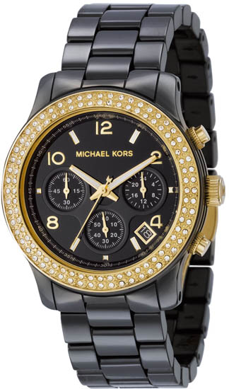 Michael Kors Black Ceramic Link Bracelet Quartz Chronograph Two Tone Crystal MK5270