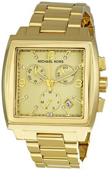 Michael Kors Gold Tone Stainless Steel Square Quartz Date Chronograph Gold Dial MK5330