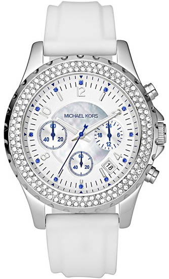 Michael Kors Mother Of Pearl Quartz Crystal Chronograph Silicone Strap at Sears.com