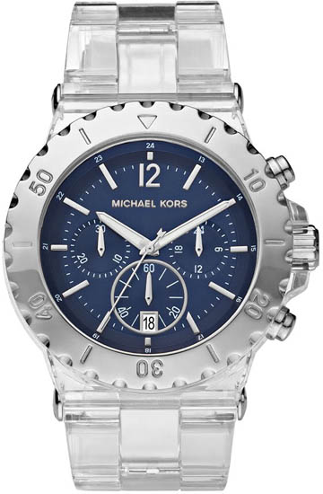 Michael Kors Clear Plastic Resin Link Bracelet Quartz Chronograph Blue Dial at Sears.com