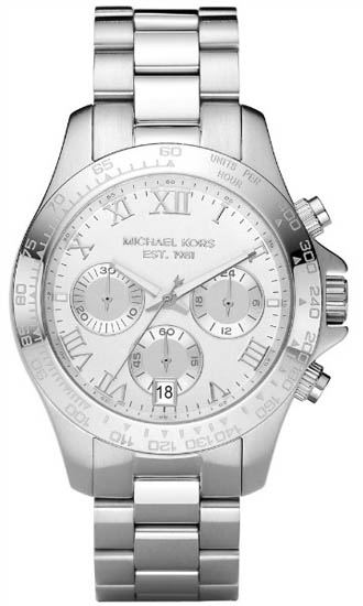 Michael Kors Stainless Steel Quartz Tachymeter Chronograph Roman Numeral Silver Tone MK5454
