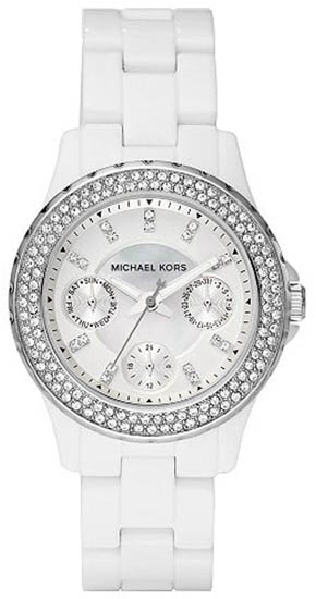 Michael Kors White Plastic Link Bracelet Quartz White Dial MK5458
