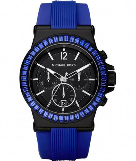 Michael Kors Black Stainless Steel Quartz Chronograph Crystal Blue Rubber Strap Crystals MK5466