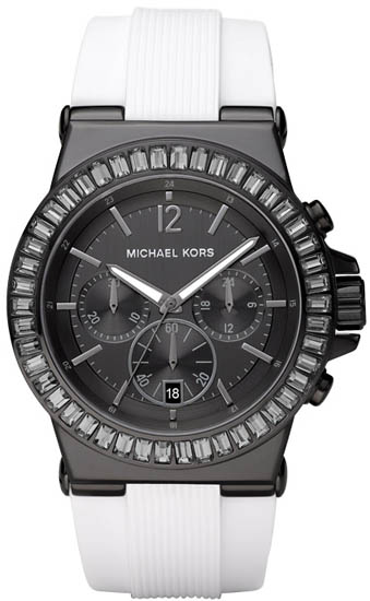 Michael Kors Black Stainless Steel Quartz Chronograph Crystal Rubber Strap MK5468