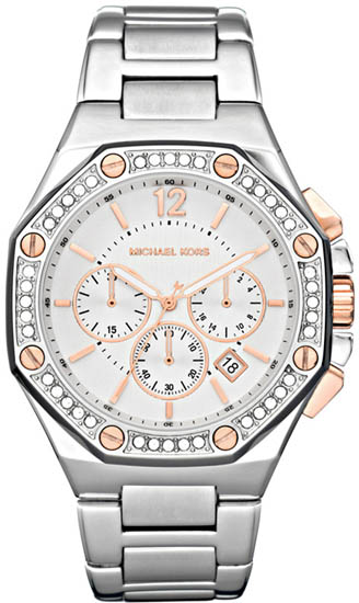 Michael Kors Stainless Steel Quartz Chronograph Crystal Two Tone Dial MK5504