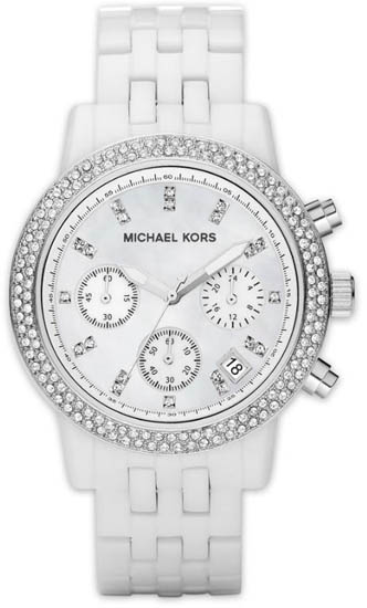 Michael Kors White Plastic Quartz Chronograph Crystal Mother Of Pearl Dial at Sears.com