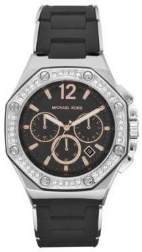 Michael Kors Stainless Steel Chronograph Quartz Black Dial Swarovski Crystals Black Silicone Band MK5564