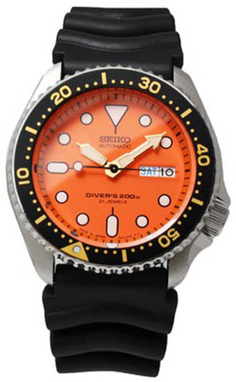 Seiko skx011j1 mens watch stainless steel automatic diver - Orange dive watch ...
