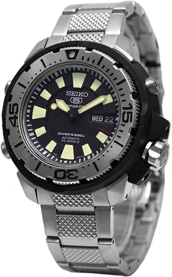 Stainless Steel Seiko 5 Automatic Dive Watch Black Dial
