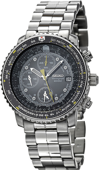 Seiko SNA411 Mens Watch Flight Chronograph Black Dial