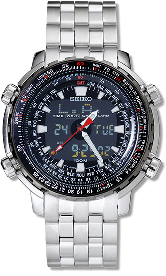 seiko snj017 mens analog digital world time flight