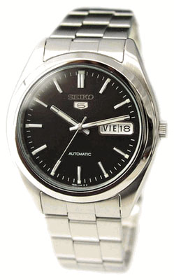 Stainless Steel Seiko 5 Automatic Dress Watch Black Dial