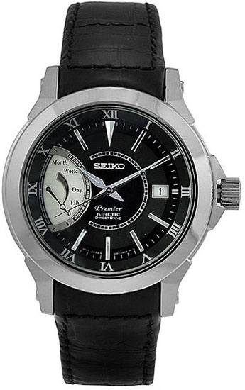 Seiko srg001p2 mens watch premier kinetic direct drive black dial for Watches direct