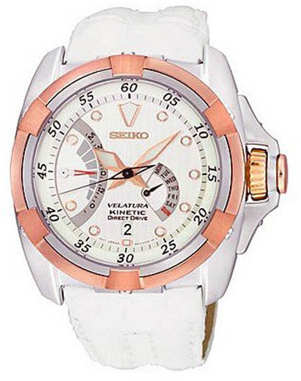 Seiko srh014 mens watch velatura kinetic direct drive white dial white leather strap rose gold bezel for Watches direct