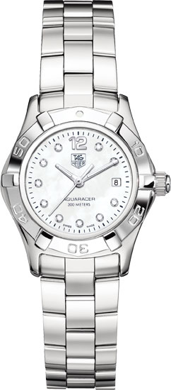 Tag Heuer Stainless Steel Aquaracer Mother Of Pearl Dial Diamonds WAF1415BA0824