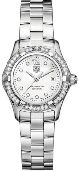 Tag Heuer Stainless Steel Aquaracer Mother of Pearl Dial Diamonds WAF1416BA0824