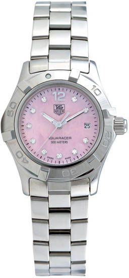 Tag Heuer Stainless Steel Aquaracer Pink Mother Of Pearl Dial Diamond Hours WAF141ABA0824