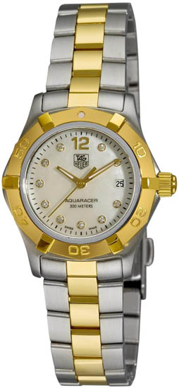 Tag Heuer Two Tone Stainless Steel Aquaracer Mother Of Pearl Dial Diamonds WAF1425BB0825