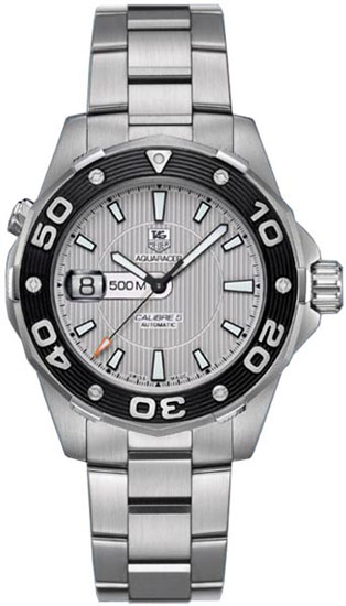 Tag Heuer Stainless Steel Aquaracer Diver Calibre 5 Automatic Silver Tone Dial WAJ2111BA0870