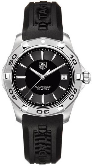 Tag Heuer Stainless Steel Quartz Aquaracer Black Dial Rubber Strap WAP1110FT6029