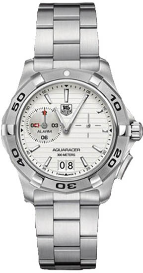 Tag Heuer Stainless Steel Aquaracer Quartz Analog Alarm White Dial WAP111YBA0831