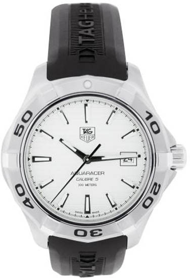Tag Heuer Stainless Steel Automatic Aquaracer White Dial Strap WAP2011FT6027