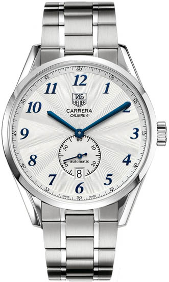 Tag Heuer Stainless Steel Carrera Calibre 6 Automatic Silver Dial Blue Hour Markers WAS2111BA0732