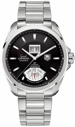 Tag Heuer Grand Carrera Stainless Steel Bracelet Black Dial WAV5111BA0901