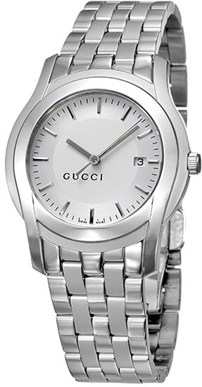 Gucci Matte Polished 5505 Quartz Silver Dial Stainless Steel YA055212