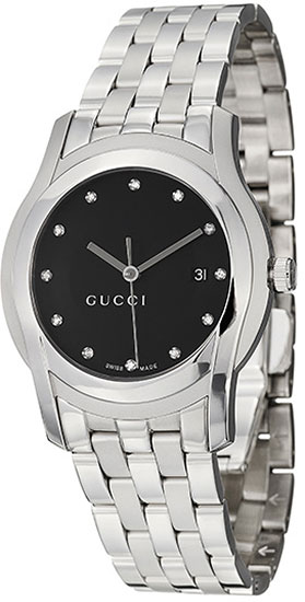 Gucci 5505 G Black Dial Stainless Steel Diamonds YA055213