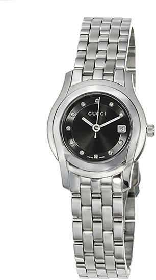 Gucci 5505 Black Dial Stainless Steel YA055504