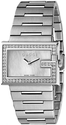 Gucci 100 G Mother of Pearl Dial Stainless Steel Diamond YA100510