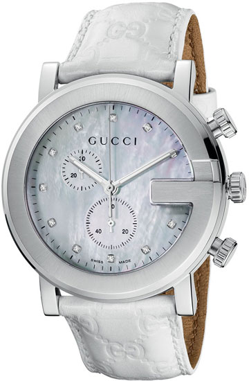 Gucci 101 G-Round Chronograph with White Mother Of Pearl Dial YA101342
