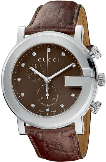 Gucci 101 G-Round Chronograph Brown Dial Diamonds YA101344