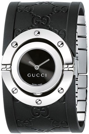 Gucci Series 112 Twirl Rubber Bangle Style Wide Black Dial YA112420